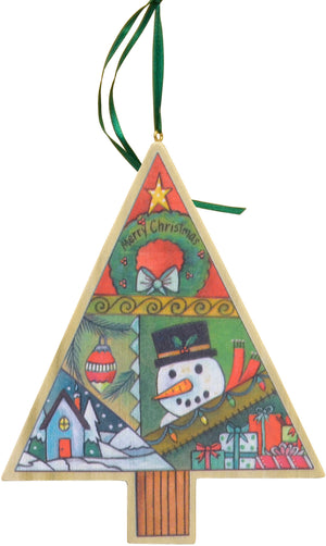 Tree Holiday Ornament Set – A set of all three printed tree holiday ornaments main view, single crazy quilt design