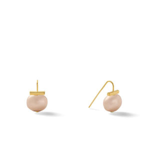 Classic Baby Pebble Pearl Earrings in Nude – Petite, scaled down versions of Catherine Canino's most popular design in a muted nude color