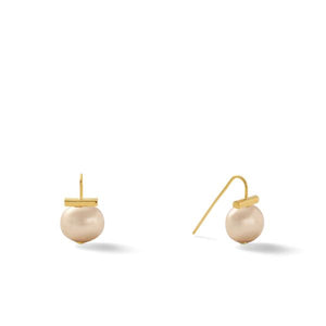 Classic Baby Pebble Pearl Earrings in Taupe – Petite, scaled down versions of Catherine Canino's most popular design in a lovely grey-brown color