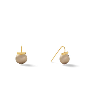 Classic Baby Pebble Pearl Earrings in Tobacco – Petite, scaled down versions of Catherine Canino's most popular design in a classic brown color