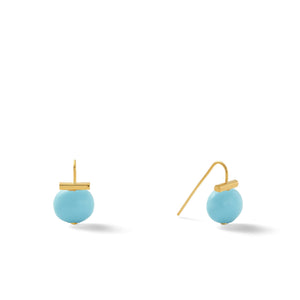 Classic Baby Pebble Pearl Earrings in Turquoise – Petite, scaled down versions of Catherine Canino's most popular design in a vibrant turquoise
