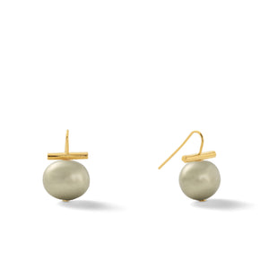 Classic Medium Pebble Pearl Earrings in Beetle – Catherine Canino's most universal size and it's Catherine's personal fave, here shown in a greenish-grey color