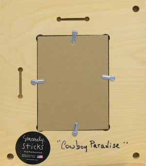 """Cowboy Paradise"" Picture Frame – Livin' Life to the Fullest frame with sun over the desert and cactus motif back view"