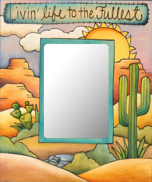"""Cowboy Paradise"" Picture Frame – Livin' Life to the Fullest frame with sun over the desert and cactus motif front view"
