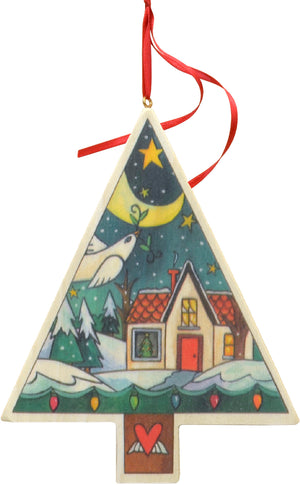 """Christmas Cottage"" Ornament – A Christmas home is nestled into this printed winter landscape motif front view"