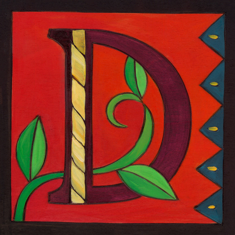 "Sincerely, Sticks ""D"" Alphabet Letter Plaque option 1 with vine and zig zags"