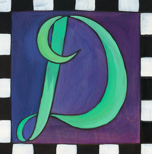 "Sincerely, Sticks ""D"" Alphabet Letter Plaque option 2 in cursive with black and white check border"