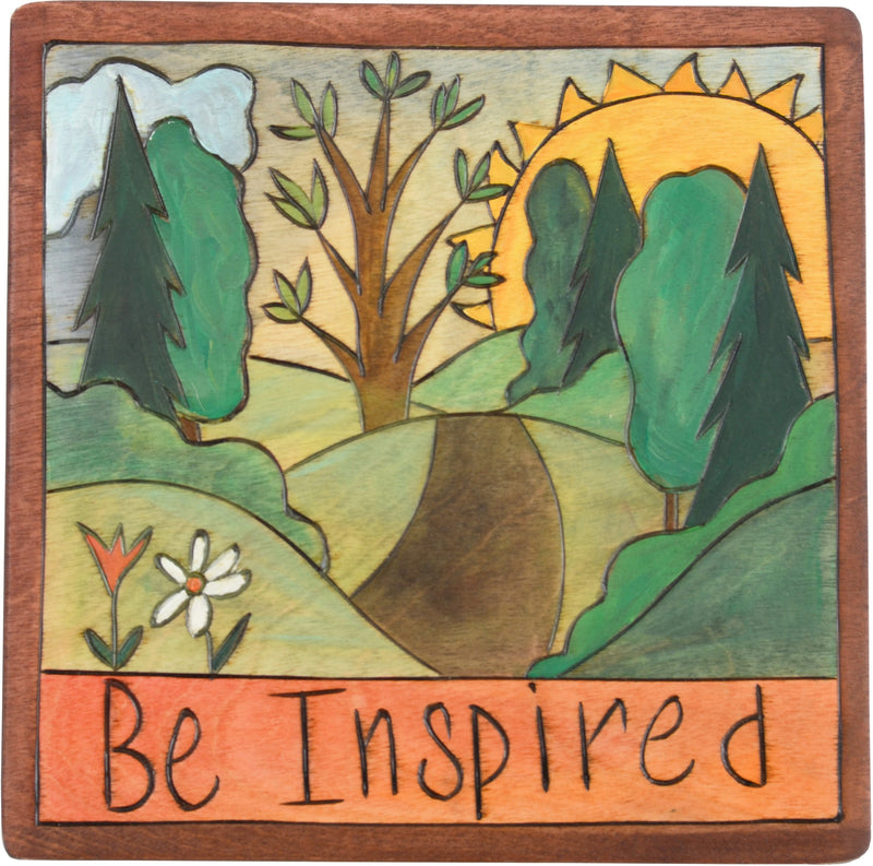 "Sticks handmade wall plaque with ""Be Inspired"" quote and rolling landscape"