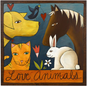 "Sticks handmade wall plaque with ""Love Animals"" quote and imagery"