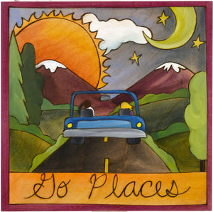 "Sticks handmade wall plaque with ""Go Places"" quote and road trip to the mountains imagery"