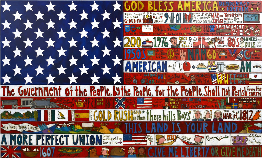 American Flag Plaque 2008 Edition –  Original plaque, large and hand crafted with American motifs to honor the United States
