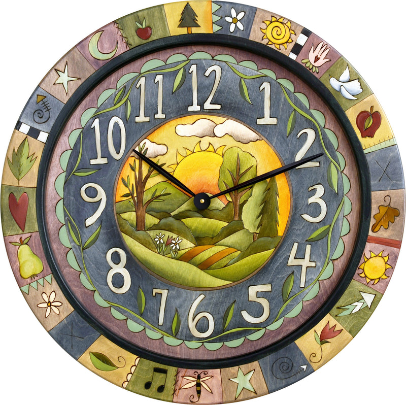 "Sticks handmade 36""D wall clock with sunrise landscape and colorful life icons"