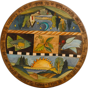 "Sticks Handmade 20"" lazy susan with Sun and Moon landscapes, bird, fish and foliage"