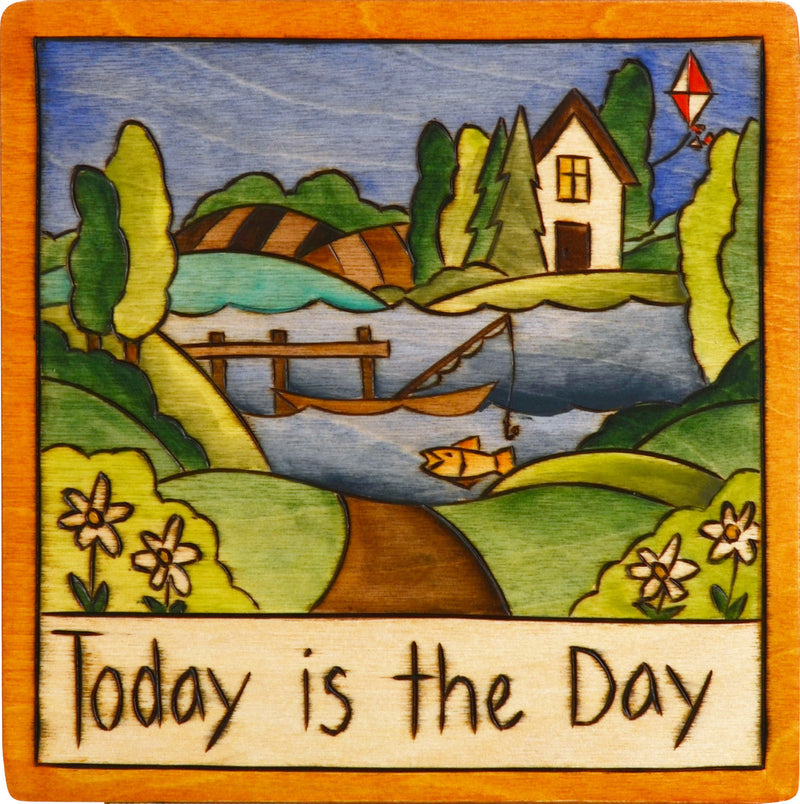 "7""x7"" Plaque –  Cute ""Today is the day"" lake motif plaque"
