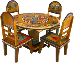 Sticks handmade dining table with vibrant folk art imagery and matching chairs