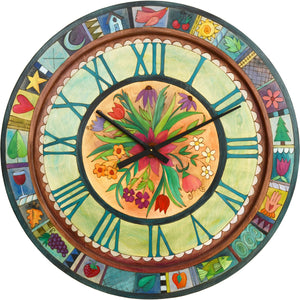"Sticks handmade 36""D wall clock with bright, floral motif"