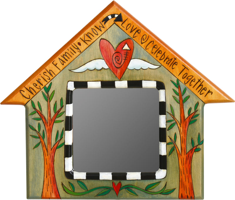 "House Shaped Mirror –  ""Cherish Family"" heart-shaped mirror with heart with wings and tree of life motif"