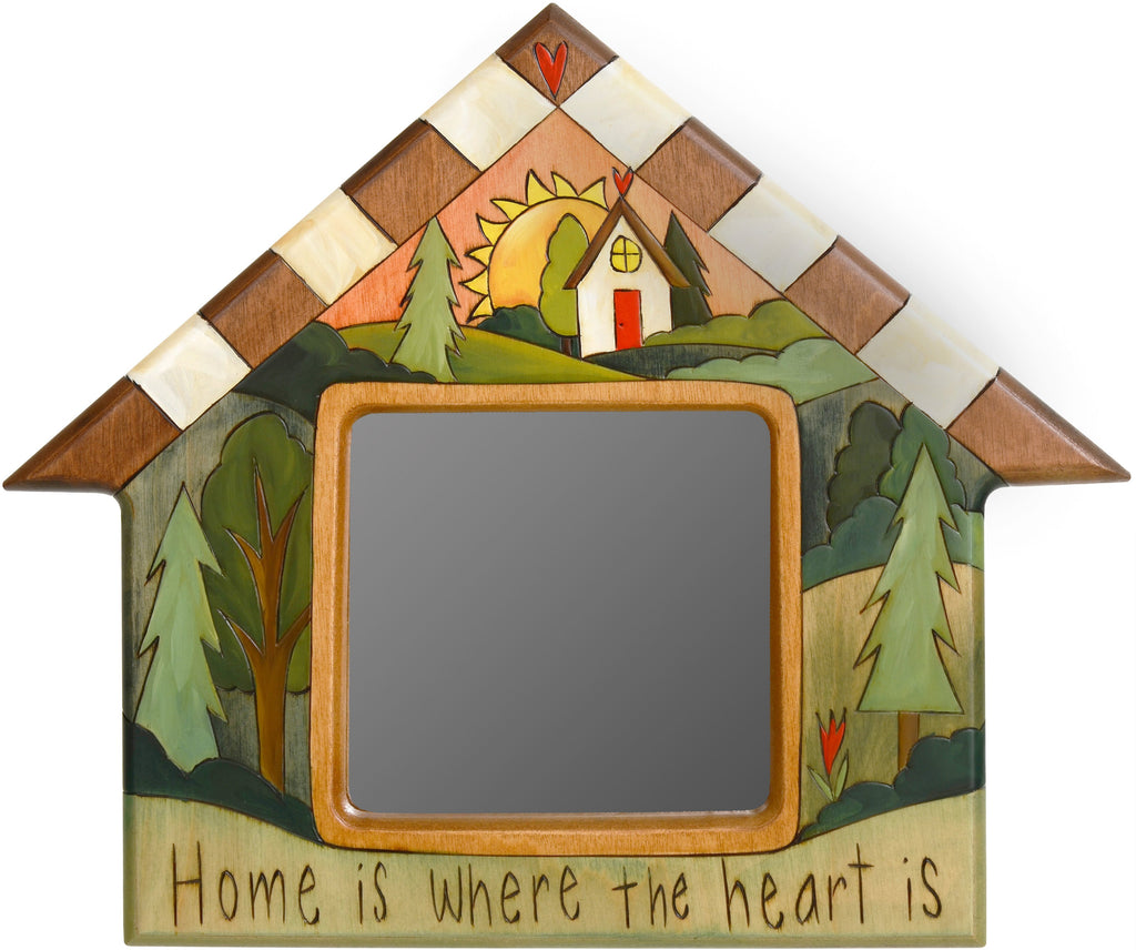 "House Shaped Mirror –  ""Home is where the Heart is"" house-shaped mirror with sunset over a house in the hills motif"