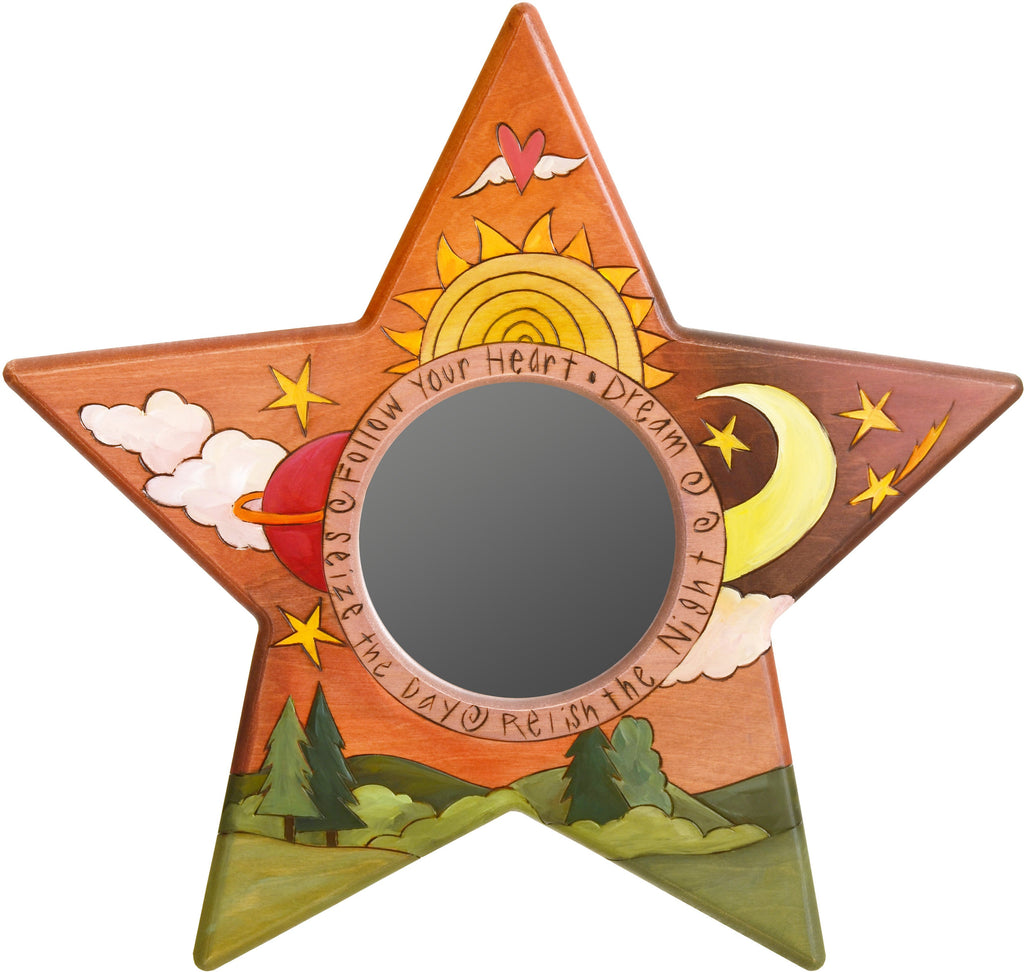 "Star Shaped Mirror –  ""Seize the Day/Relish the Night"" star-shaped mirror with sun and moon over the horizon motif"