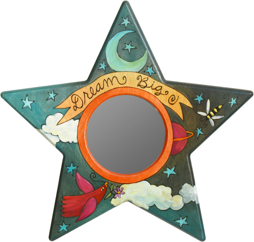 "Star Shaped Mirror –  ""Dream Big"" star-shaped mirror with starry sky motif"