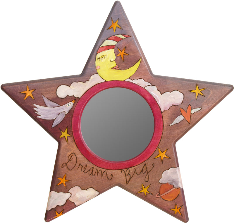 "Star Shaped Mirror –  ""Dream Big"" star-shaped mirror with sleepy mister moon motif"