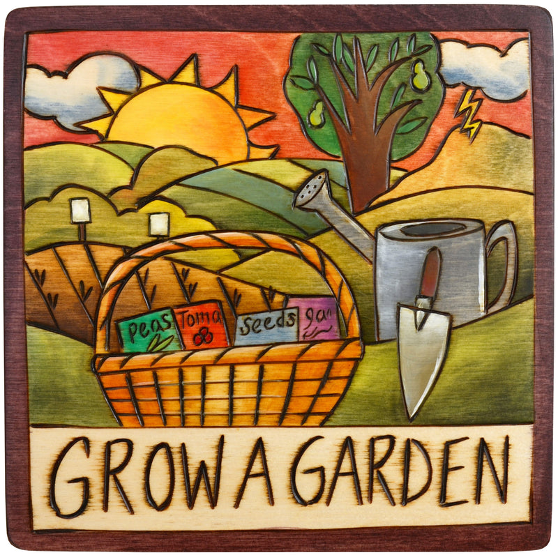 "Sticks handmade wall plaque with ""Grow a Garden"" quote and theme"