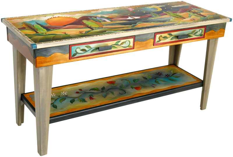Sticks handmade 5' sofa table with drawers and beautiful foothills motif