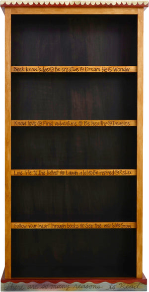 Tall Bookcase –  Lovely tall bookcase with dark interior and colorful block icon motif on the sides