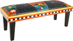Sticks handmade 4' bench with leather and colorful folk art imagery