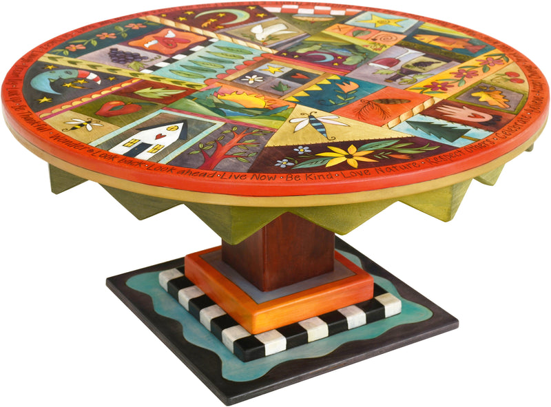 Round Coffee Table –  Eclectic folk art coffee table painted in rich and vibrant hues