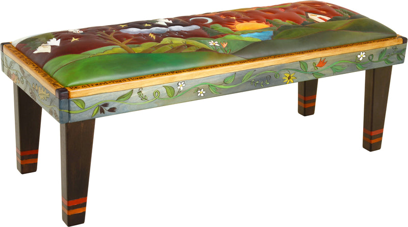 Sticks handmade 4' bench with leather and four seasons landscape