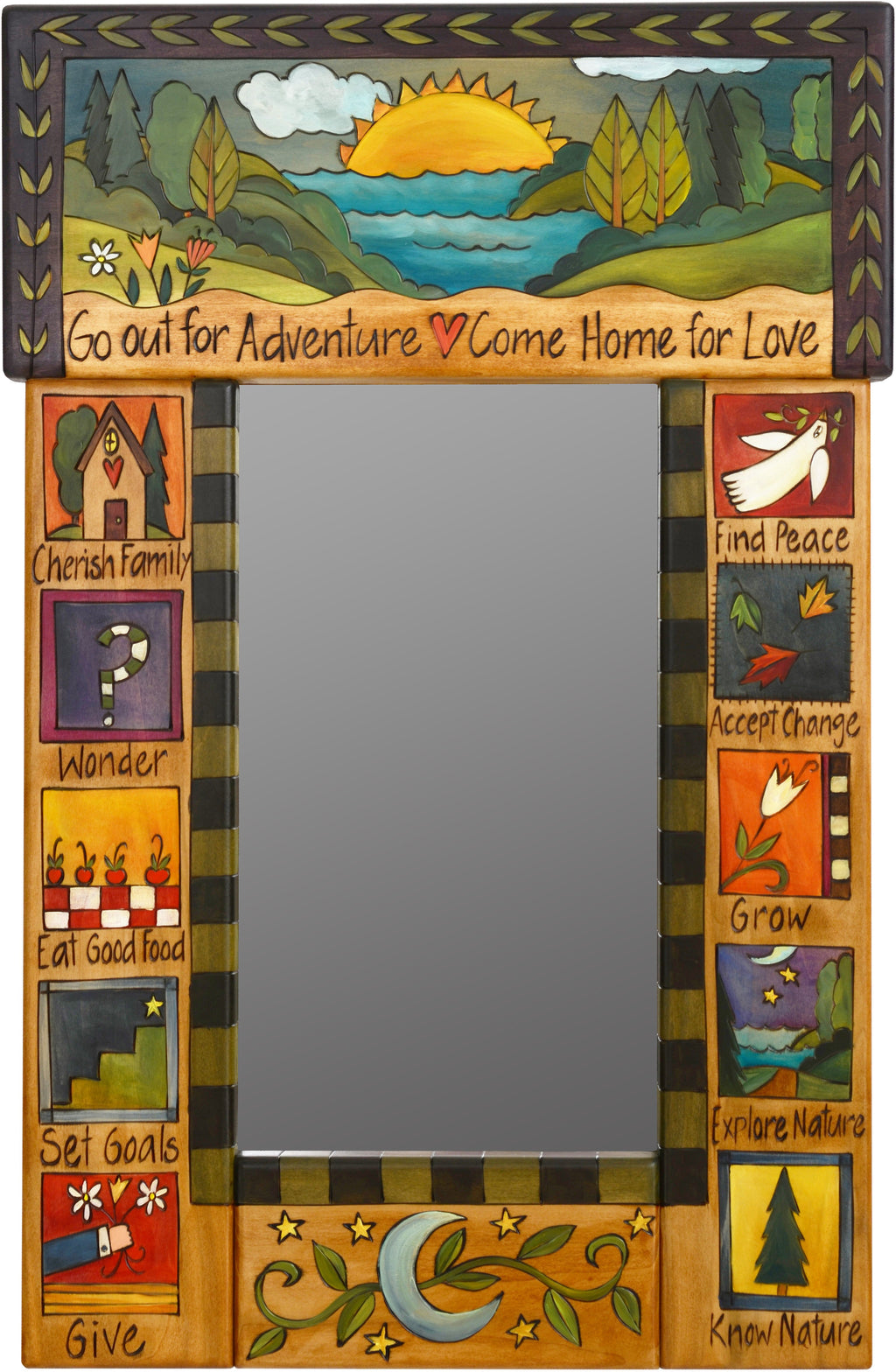 "Small Mirror –  ""Go out for Adventure, Come Home for Love"" mirror with colorful block icons and sun and moon motif"