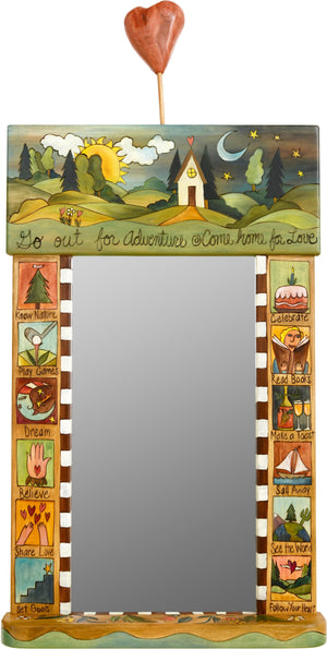 "Large Mirror –  ""Go out for Adventure/Come Home for Love"" mirror with sun and moon on the horizon with home motif"