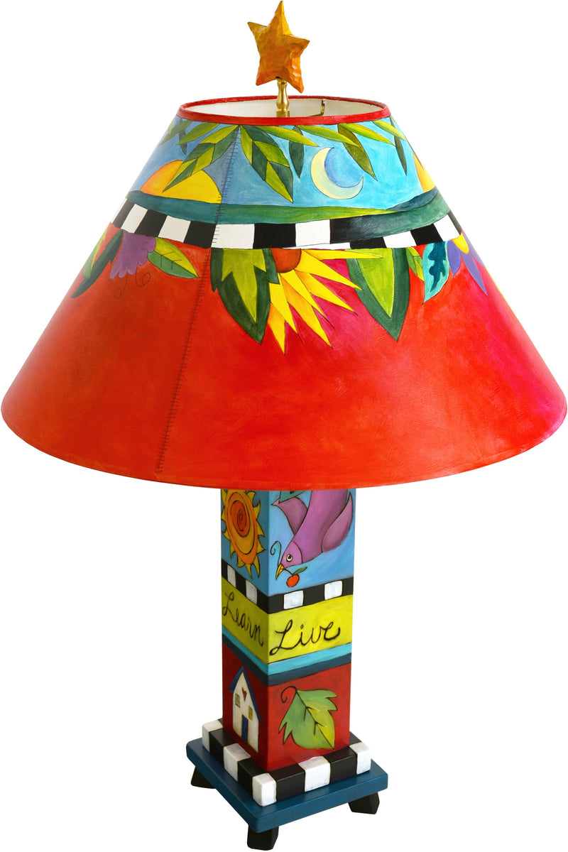Box Table Lamp –  Vibrant and colorful lamp with foliage motifs and black and white checks