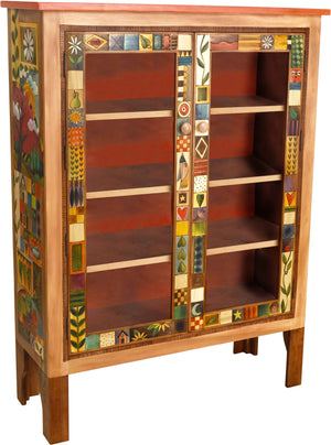 Bookcase with Glass Doors –  Bookcase cabinet with interior shelves and elegant block icons and landscapes