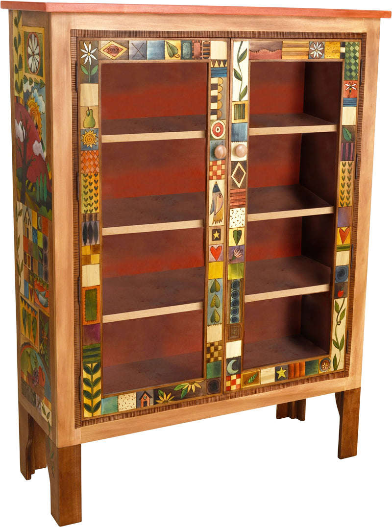 Sticks handmade bookcase with glass doors