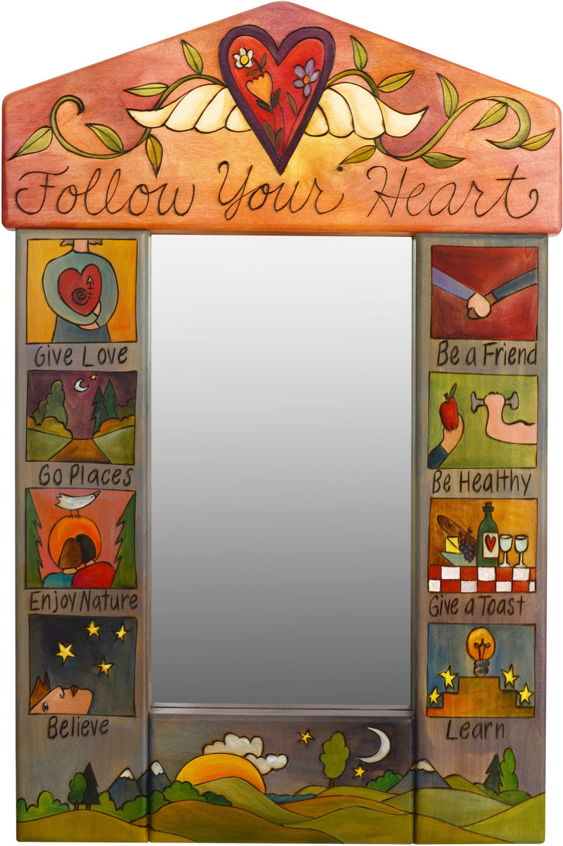 "Small Mirror –  ""Follow your Heart"" mirror with heart with wings and vines motif"
