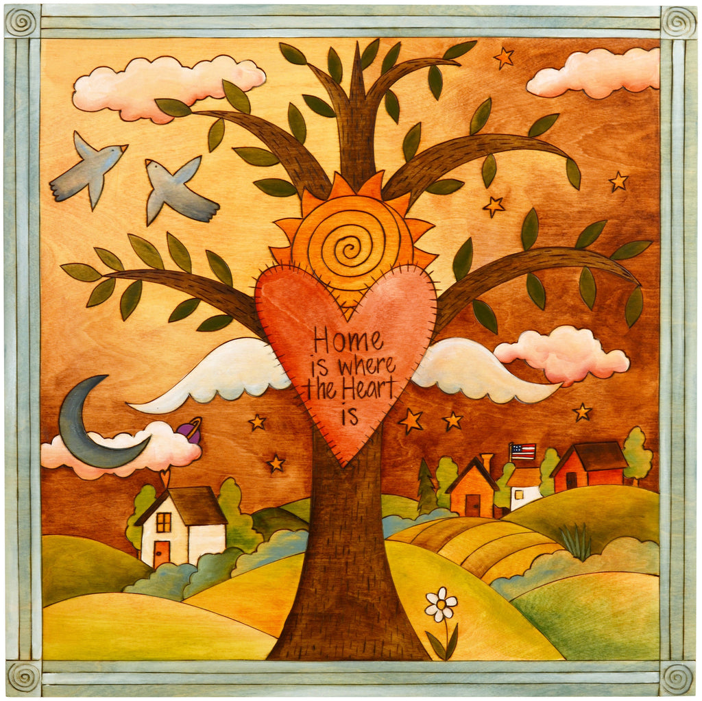 Sticks handmade wall plaque with tree of life and motivational imagery