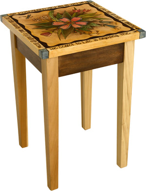 Small Square End Table –  Elegant and neutral end table with lovely floral motif and inspirational phrases