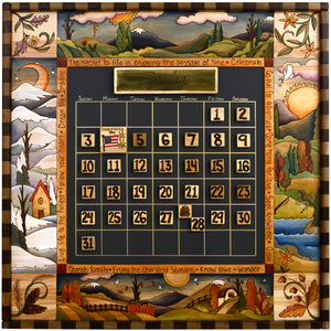 "Large Perpetual Calendar –  ""The Secret to Life is Enjoying the Passage of Time"" perpetual calendar with scenes of the four seasons in a neutral color scheme motif"