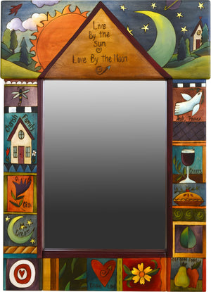 "Medium Mirror –  ""Live by the Sun/Love by the Moon"" mirror with sunny day and starry night motif"