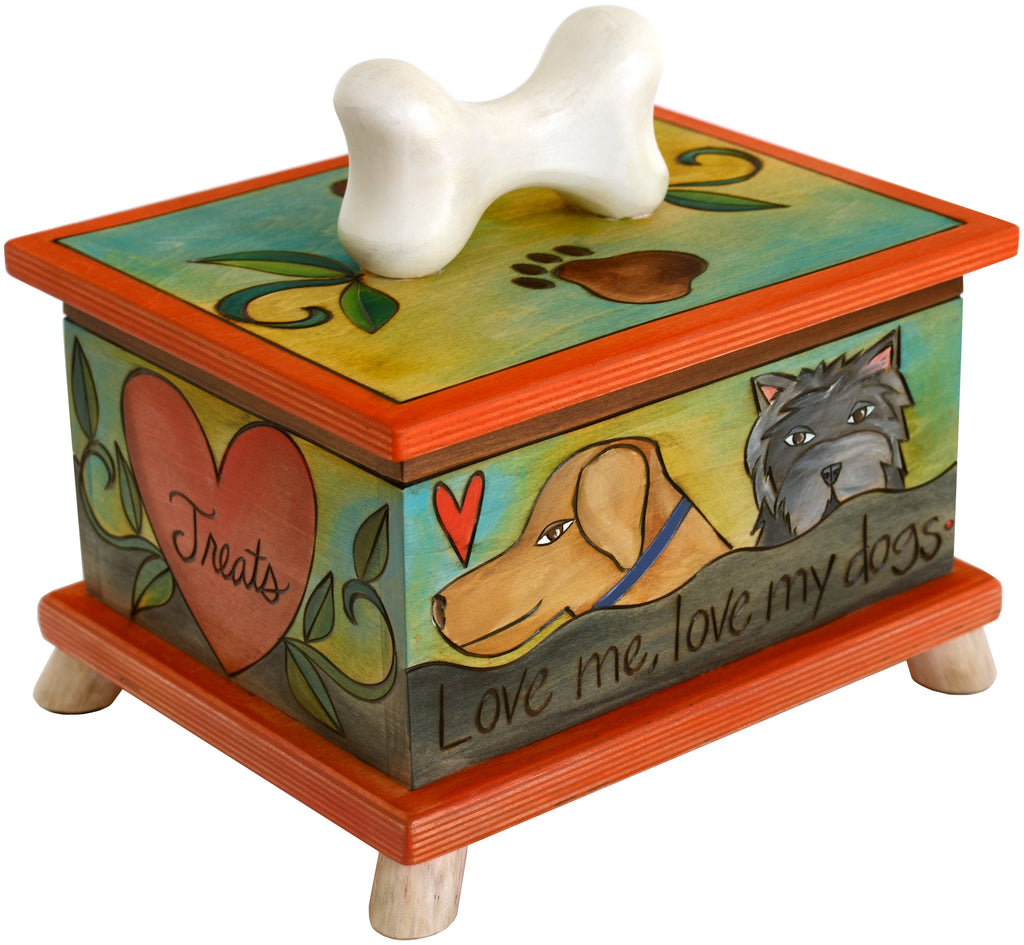 "Pet Treat Box – ""Treats"" heart box with pups scattered around the sides"