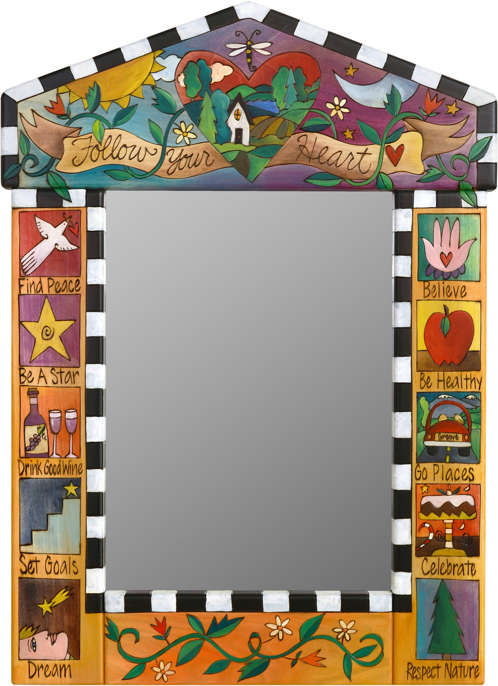 "Medium Mirror –  ""Follow your Heart"" mirror with sun, moon and heart motif"