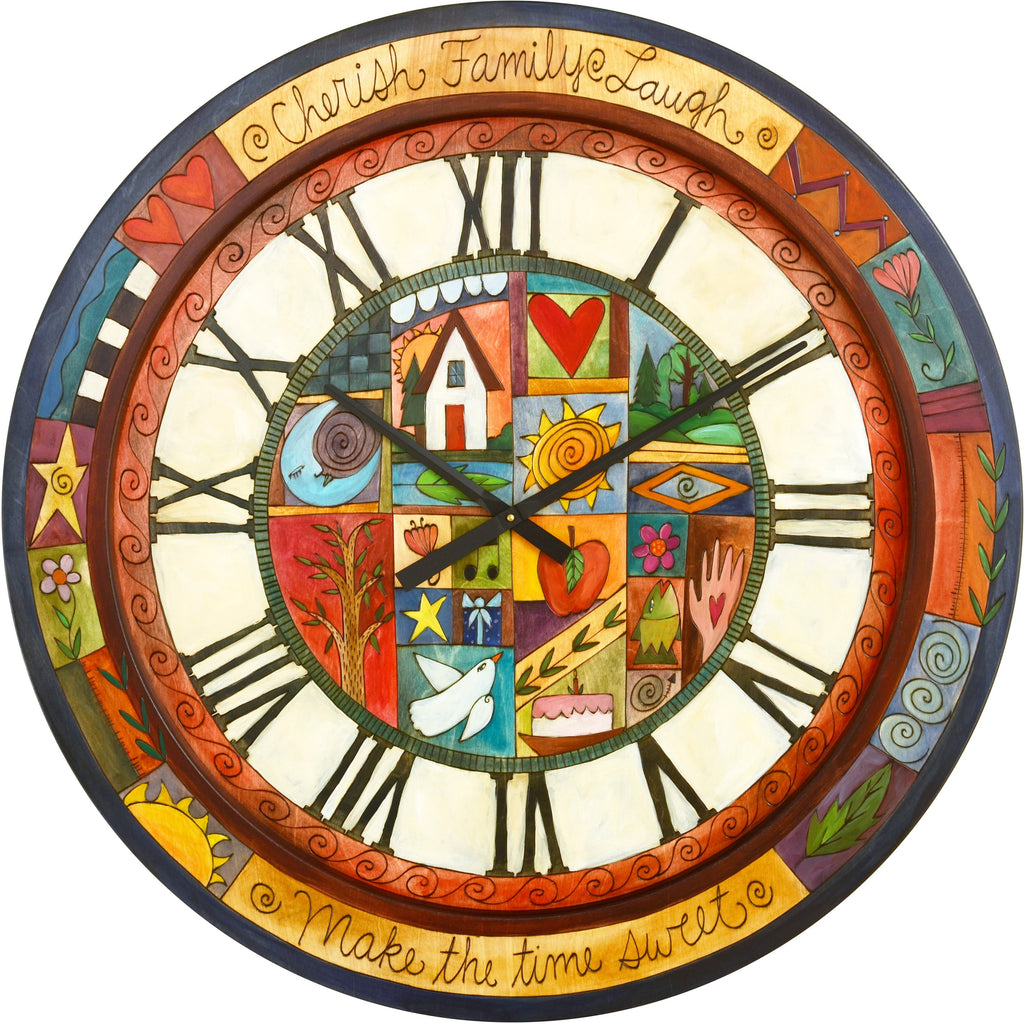 "Sticks handmade 36""D wall clock with colorful life icons"