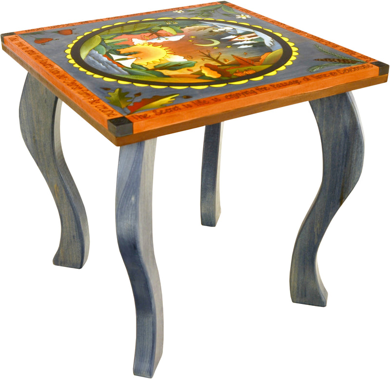 Large Square End Table –  Eclectic end table with four seasons motifs