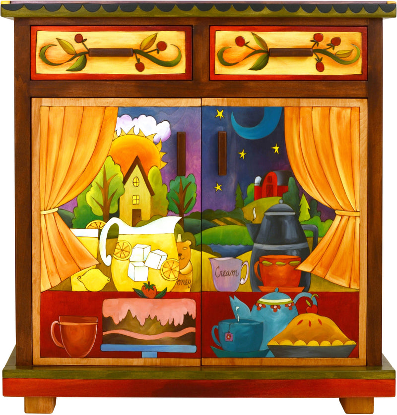 Small Buffet –  Small buffet with sun and moon in the sky and a home on the horizon motif