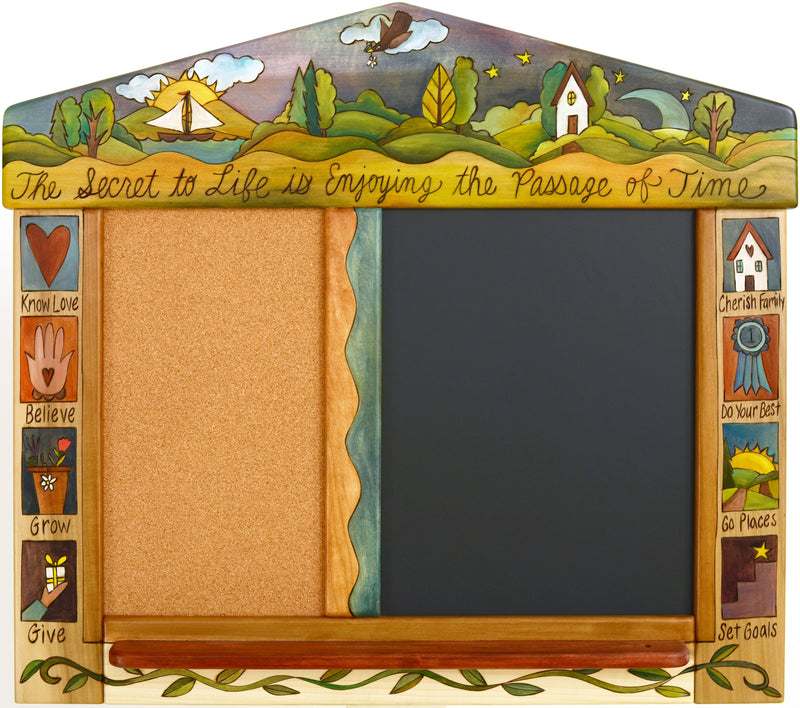 "Small Activity Board –  ""The Secret to Life is Enjoying the Passage of Time"" activity board with sun and moon over the beautiful rolling hills motif"