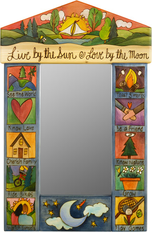 "Small Mirror –  ""Live by the Sun/Love by the Moon"" mirror with sun setting over sailboat motif"