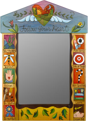 "Medium Mirror –  ""Follow your Heart"" mirror with sunset over the rolling hills and heart with wings motif"