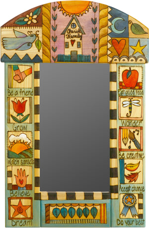 "Small Mirror –  Lovely ""Cherish Family"" mirror with colorful block icons"
